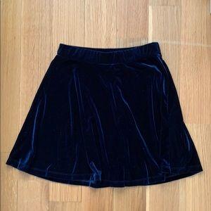 Nasty Gal navy blue velvet swing skirt